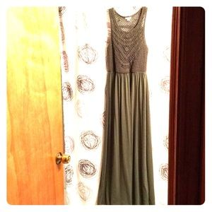 Army green crochet top maxi dress